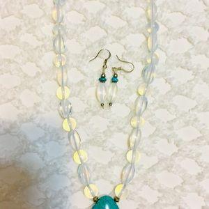 moonstone Jewelry - NWOT Moonstone Beaded & Turquoise Pendant Necklace